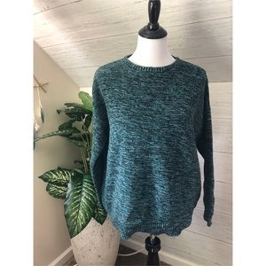 BDG oversized teal and black knit crew sweater